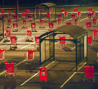 parking, supermarché, caddie, photographie, installation, Judith Millot